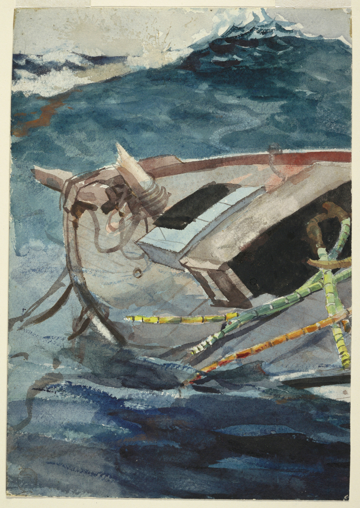Vertical view showing the listing bow of a boat with a broken mast, among swelling waves.