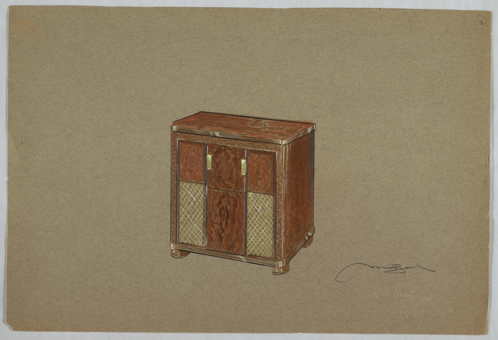 Wooden chest with doors.