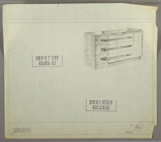 Design for chest of drawers for Helena Rubinstein's apartment in New York, NY. At upper right, object shown in perspective: overall rectilinear format with curved front-right corner. Base and top in darker material and slightly recessed; same material used for left side and left side of drawer fronts; right side in lighter material that angles outward and extends to the right and curves backward. Horizontal pulls straddle both layers of drawer fronts. Inscribed with Deskey No. 7401 and RUBIN at lower right.