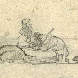 Recto:  Horizontal view of two boats drawn up on beach; a man and woman lean against the nearest boat and watch two men at work on the farthest boat.  Verso: Sketch of a seagull
