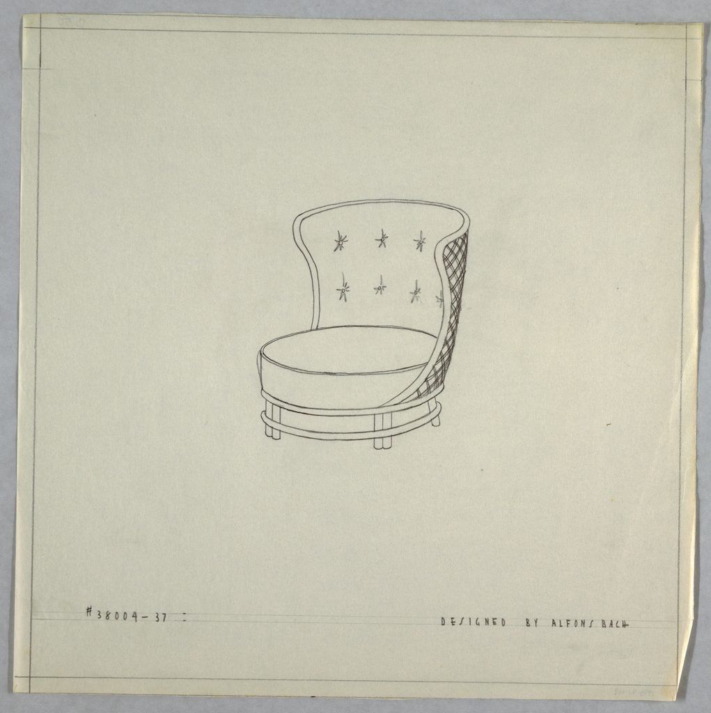 Circular chair with wing back with 7 buttons.