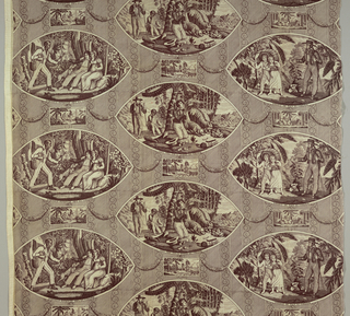 Three large oval and three small rectangular vignettes illustrating the story of Paul and Virginia after a 1788 novel by Bernadin de St-Pierre. The large vignettes are captioned in French, the smaller ones are not. Background of stripes and diagonal lines. Brown on white.