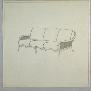 Three-cushioned sofa with peg legs and cane sides.