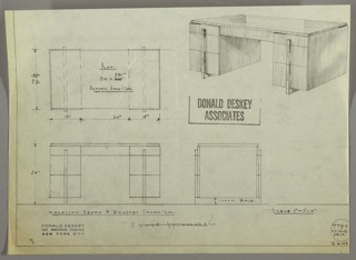 Drawing, George C. and Eleanor Hutton Rand Apartment: Desk, Seating at Center, Center Drawer, Three Stacked Drawers-Left and Rignt-with One Centered Vertical Pull Spanning the Stack, 1930s