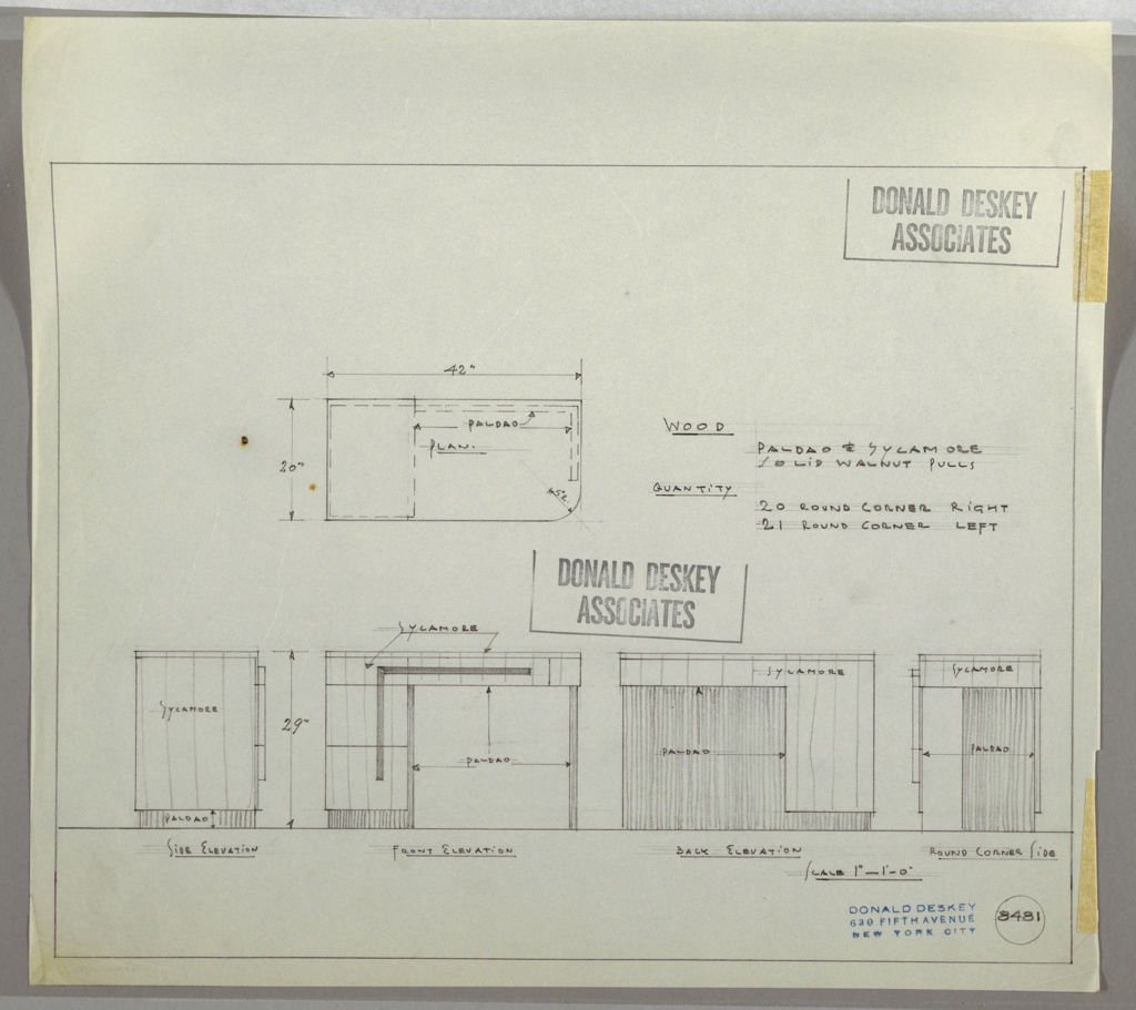 Drawing Brown Palace Hotel Desk Drawer Top Across Two Schematic Stacked