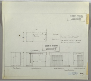 Drawing, Brown Palace Hotel: Desk: Drawer, Top Drawer Across, Two Stacked Drawers at Left with Horizontal and Vertical Pulls Joined in L-Shape, 1936