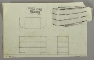 Drawing, Radio City Music Hall: Roxy Apartment, Chest of Drawers, September 30, 1933