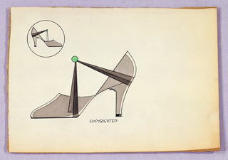 Profile of a shoe with a green circle and another shoe in a circle in upper left. Inscribed in black: COPYRIGHTED.