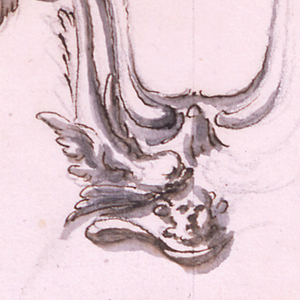 Most of the right half is roughly sketched. Grotesque birds form the upper part of the outside framing, dolphins the lower part. A mast is at the bottom.