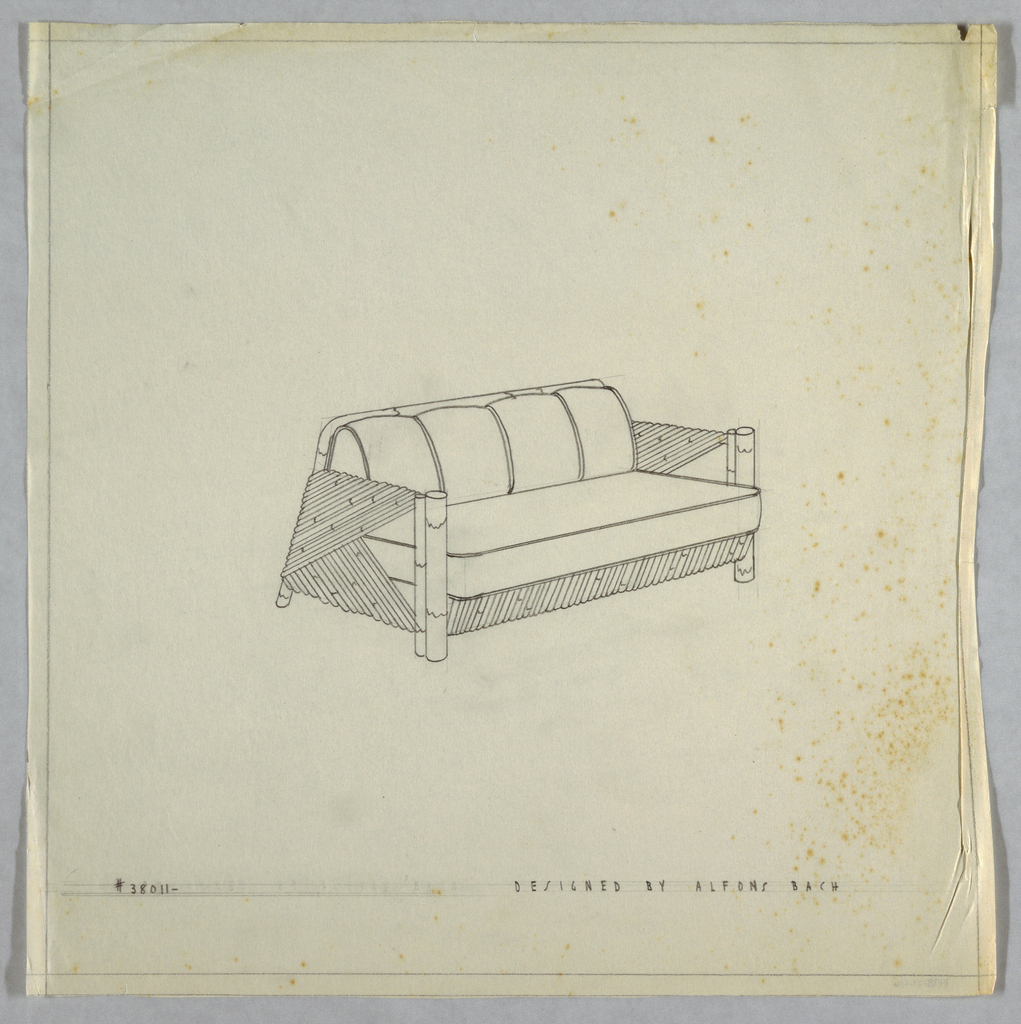 Four-cushioned sofa with bamboo arms and lower section.