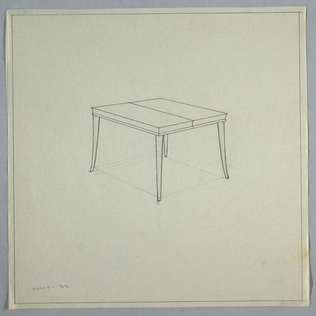 Small table with tapered slightly flared legs with leaf.