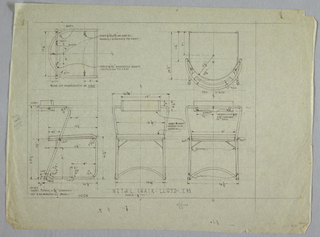 Plans and elevations of metal chair.