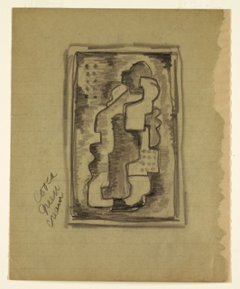 Outlined, shaded and dotted cubist forms within double ruled rectangular border