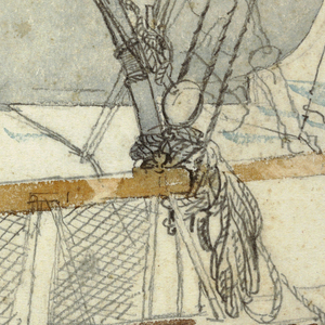 Vertical view from bridge of ship, showing railing with benches and stormy sea beyond, as two men work in a lifeboat with ropes and pulleys, at center right.