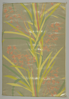 Design of flowering sprays and leaves in shades of yellow, pink and green on a gray background.