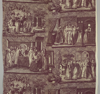 Four scenes, captioned in French, of marriage; asking for the woman's hand, the civil ceremony, the bedding of the bride and the day after the marriage. In purple on white.