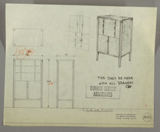 Drawing, Cabinet with Drawers, 1930s