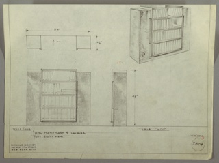 Elevation and plan of a bookcase.