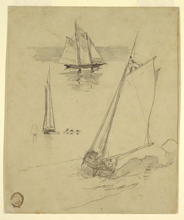 Vertical view showing three sketches of schooners, with top schooner shown in water against hills.
