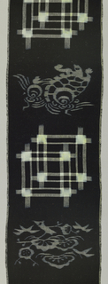 Narrow vertical panel with a design of mounded pine trees (matsu) and a tortoise in weft ikat alternating with overlapping squares in warp and weft ikat.