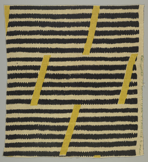 Horizontal black stripes with saw tooth edges. Short yellow bands superimposed.