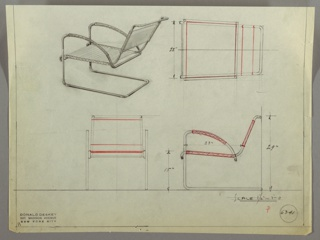 Drawing, Armchair, Cantilevered, 1930s