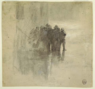Vertical view of a group of men in oilskins, at center middleground, standing on wet ground against wall of Tynemouth volunteer life brigade house and  looking out to rough sea; faint indication of railing and sea beyond, at left.