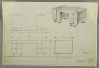 Drawing, Desk: Seating at Center, Center Drawer, Three Stacked Drawers-Left and Right-with One Vertical Aluminum Pull Spanning Stack, the Whole Elevated on Curved Aluminum Base, 1930s