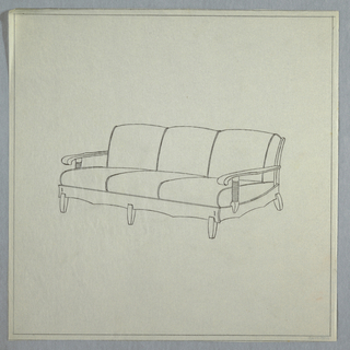 Three-cushioned couch with long tapered legs and horizontal panels on side arms.