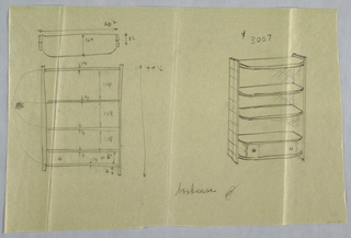 Plan and elevation of bookcase with rounded edges.