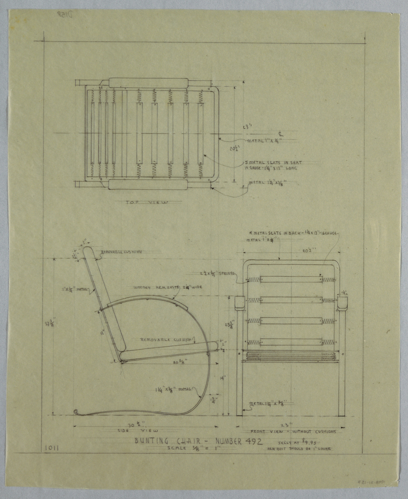 Plan and elevation of bunting chair; including annotations.
