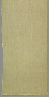 Undyed cotton and linen in a weft twill with horizontal chevron effect. Two wide cloth selvages with double warps.