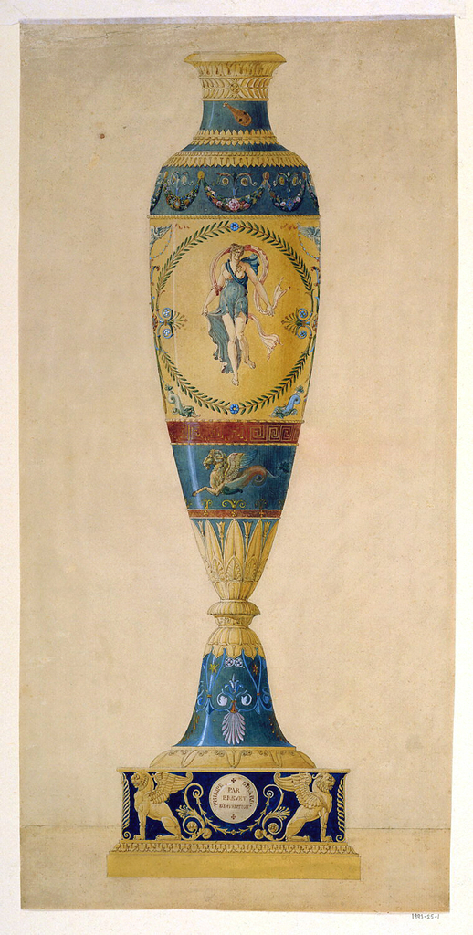 Tall, slim vase with neck and foot consisting of inverted bell shape, on slim round base.  The body divided into four registers.  Ornamentation consists of floral designs and garlands and, in central area, a figureof Venus. Base is decorated with two griffins flanking a central roundel on which is written: Philippe Girard Par/Brevet/D'Invention.