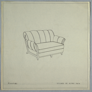 Wide armchair with tufts on back and arms, small feet.
