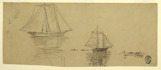 Horizontal view of one large schooner, one smaller schooner, followed by three dories, and one fisherman's dory with three oarsmen and a steersman.