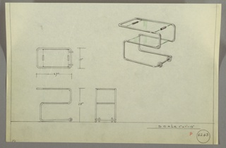 Cropped design for portable tubular metal serving cart. At upper right, object shown in perspective: tubular metal in seemingly continuous piece wraps two glass planes creating a 5-shaped, two-tier table. Above, glass panel features handholds on either short side and was possibly removable. Below at right, two circular wheels or feet. Also shown in plan and elevations. Inscribed with Deskey No. 6263.