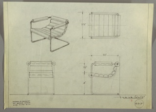 Drawing, Armchaird: Upholstered, Cantilevered, 1930s