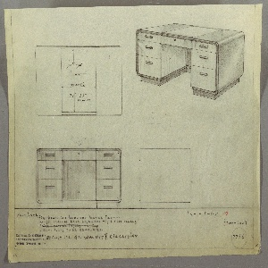 Drawing, Desk: Seating at Center, Center Drawer, Three Stacked Drawers-Left and Right-with Horizontal Rectangular Pulls, 1930s