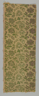 Medium sized, close set repeat of flower sprays in cut and uncut velvet in shades of green, white, tan, mauve and pink with metallic gold threads in the ground.