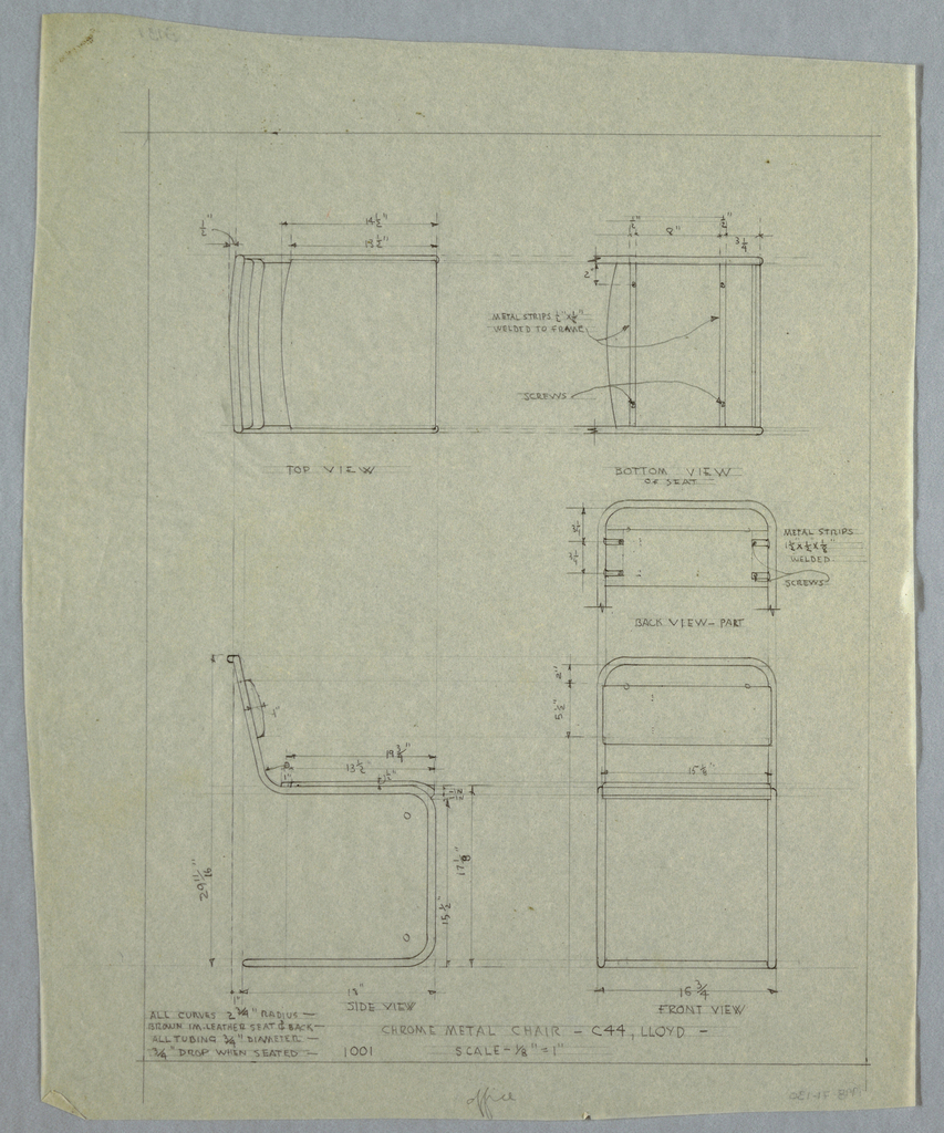 Plan and elevation of chrome metal chair; including annotations.