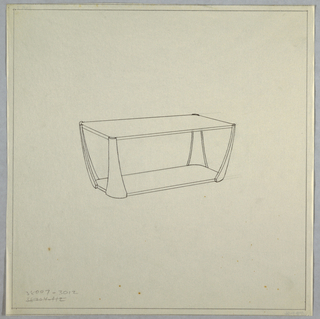 Rectangular coffee table with tapered legs connecting to rectangular base.