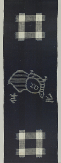 Narrow vertical panel with a design of a tortoise and a crane with a pine tree (matsu) in weft ikat alternating with square form in warp and weft ikat.