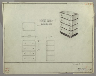 Drawing, Chest: Four Drawers, Round Knobs-Left and Right, 1930–35
