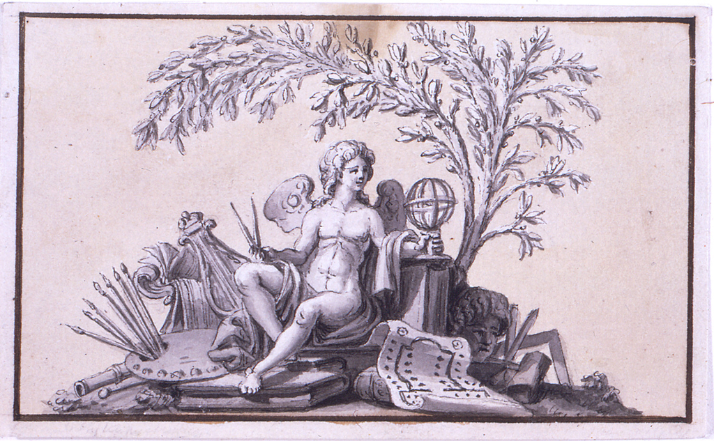 Horizontal rectangle. The Genius sits among a trophy of objects, referring to the Arts and Sciences. He carries a compass in his right hand and has his left hand at the shaft of a sphere. A laurel tree is behind him. Colored background. Dark brown framing line.