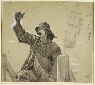 Horiontal view of a sailor in sou'wester, mounting a companionway, with his right arm upraised; a sailing vessel in background.
