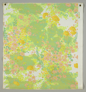 Masses of flower in an impressionistic style form an allover pattern. Eight colors have been used, a variety of greens being predominant; flowers are mainly pink, turquoise, and yellow. Printed on a white ground.