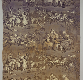 Scenes of children with their grandparents separated by floral swags. Designed to be sewn together as a straight repeat. In purple on white.