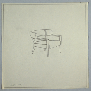 Chair with wooden arms and horizontal curved back; splayed back legs.
