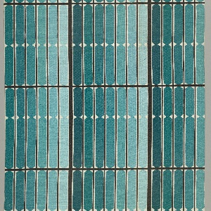 Length of printed cotton with vertical stripes in seven shades of blue-green, arranged from darkest to lightest, overlaid with a grid of black lines and small white diamonds.