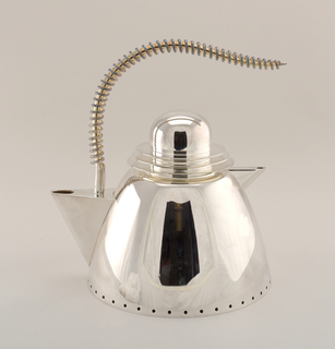 Teapot of a rounded shape with a punched dotted border around the bottom edge, a triangular spout and a handle of coiled silver. The teapot consists of two separate chambers: a small upper, central chamber in which the tea itself is brewed and a large lower chamber for hot water.